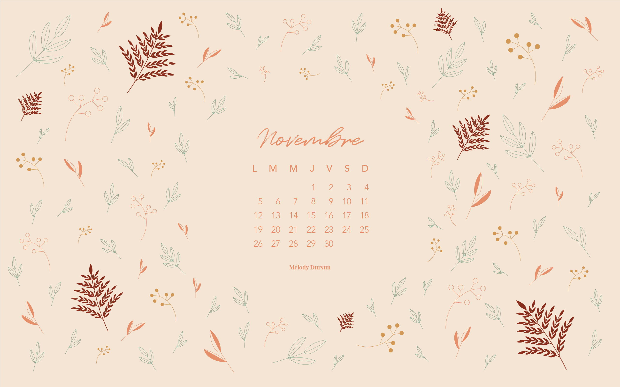 Calendrier & fonds d'écran – Novembre 2018
