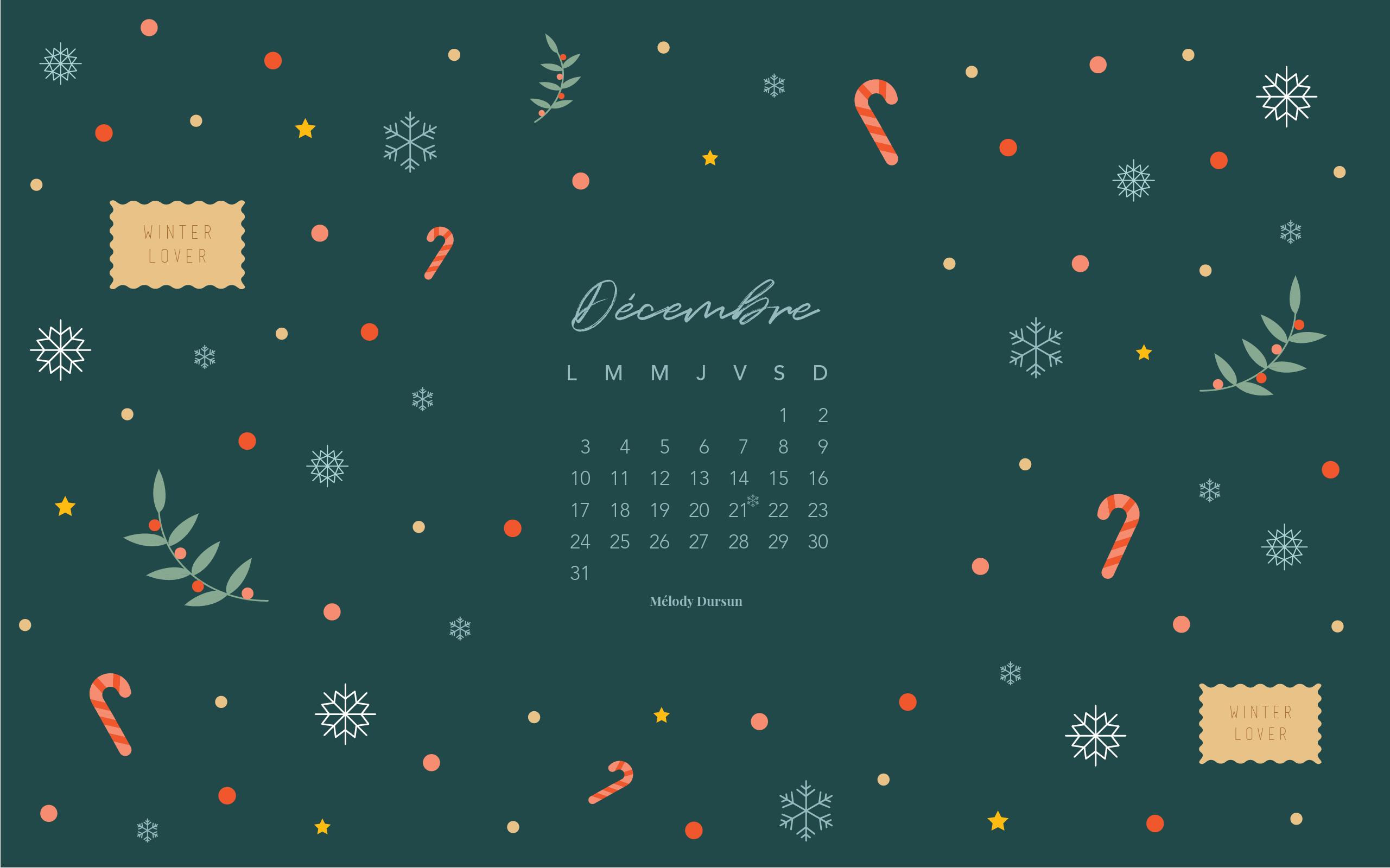 Calendrier & fonds d'écran – Décembre 2018