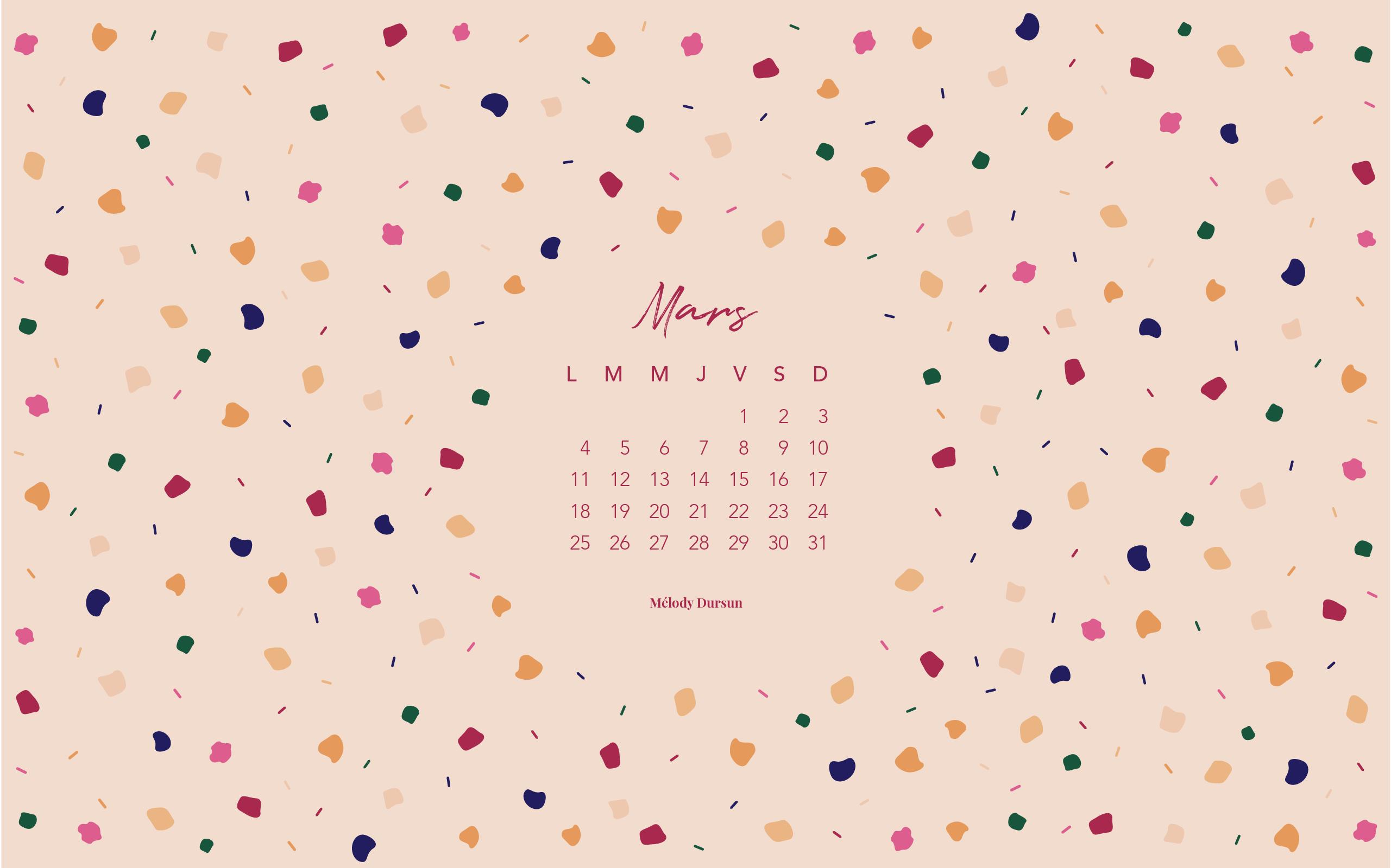 Calendrier & fonds d'écran – Mars 2019