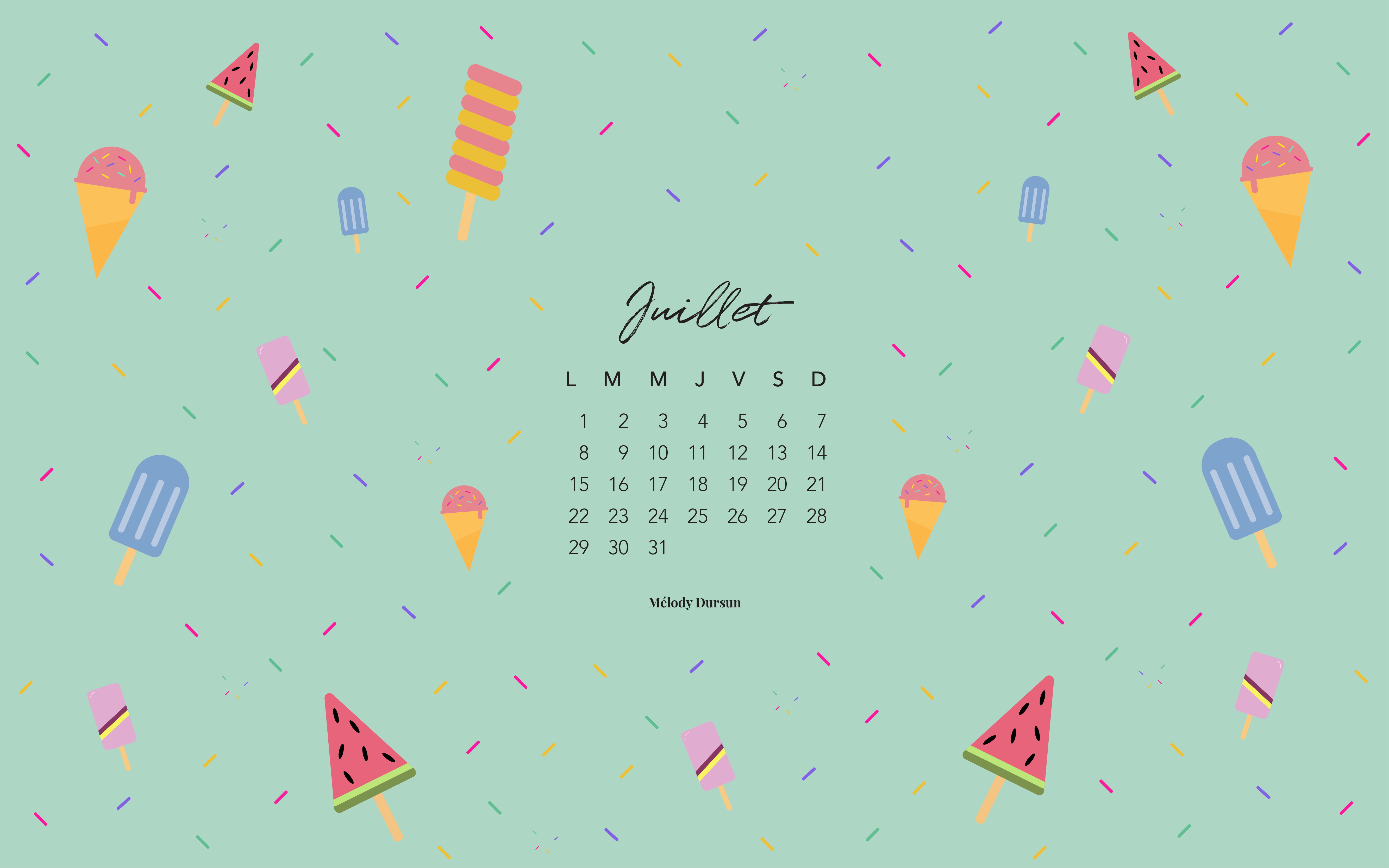 Calendrier & fonds d'écran – Juillet 2019